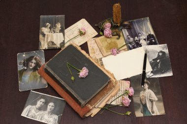 Vintage background with books and photo