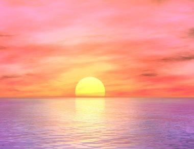Dawn over the ocean stock vector
