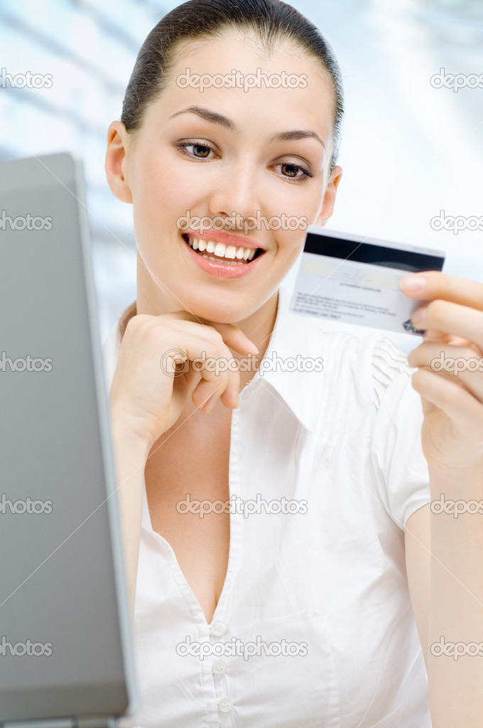 Portrait of a young woman shopping online