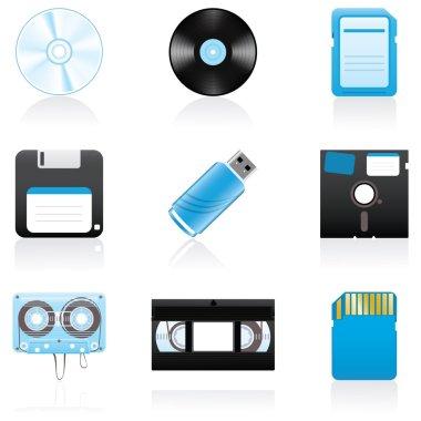 Icon set Storage media
