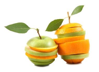 Mixed fruit on white background