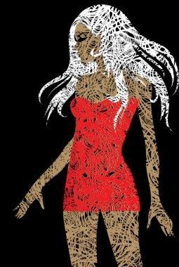Slim blond girl in red dress
