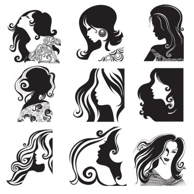 Vector set of beautiful woman