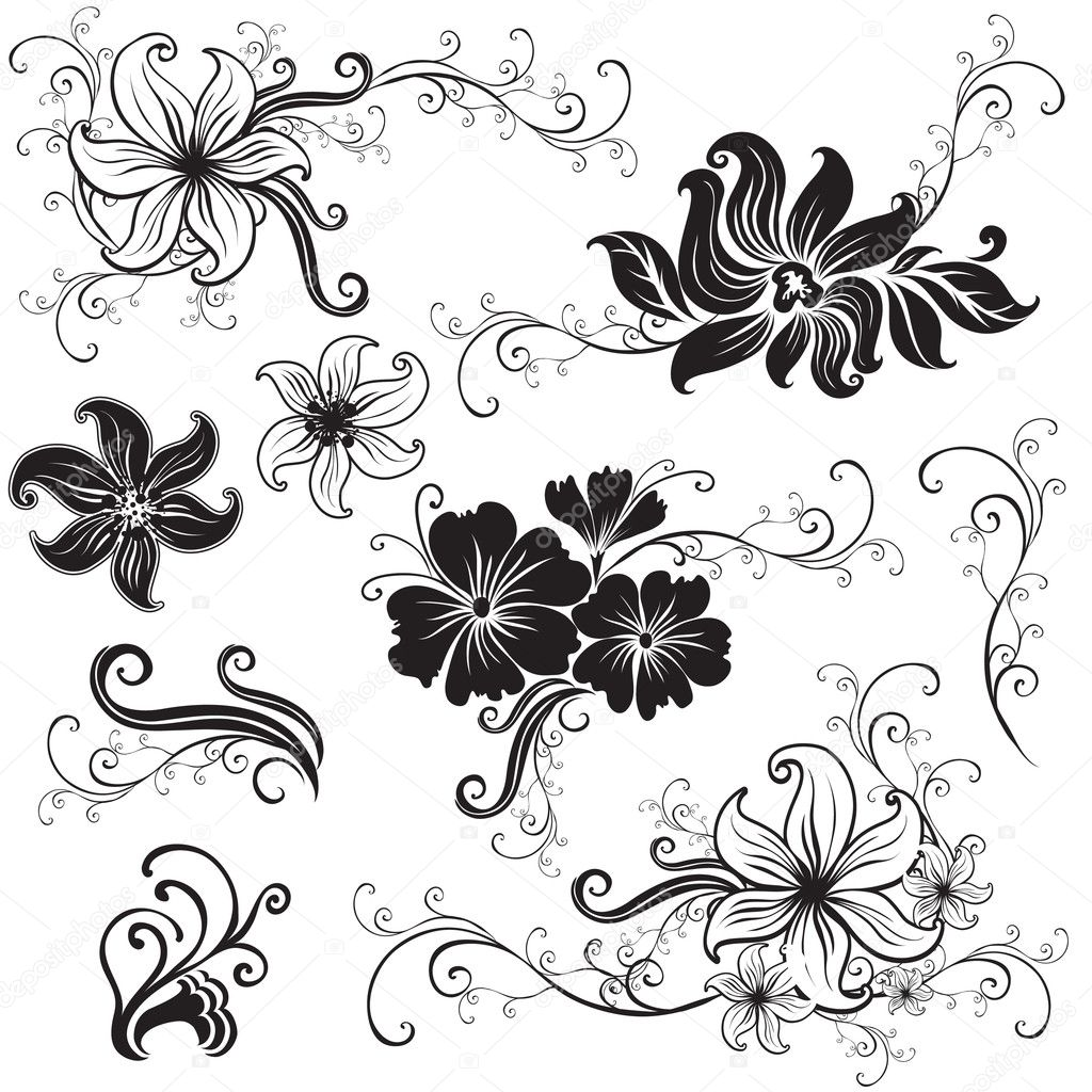 Set of black floral design elements