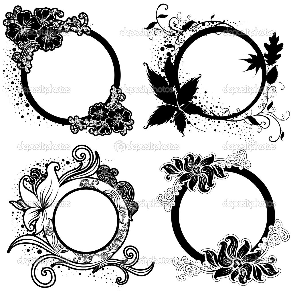 Set of Vector Floral vintage frames