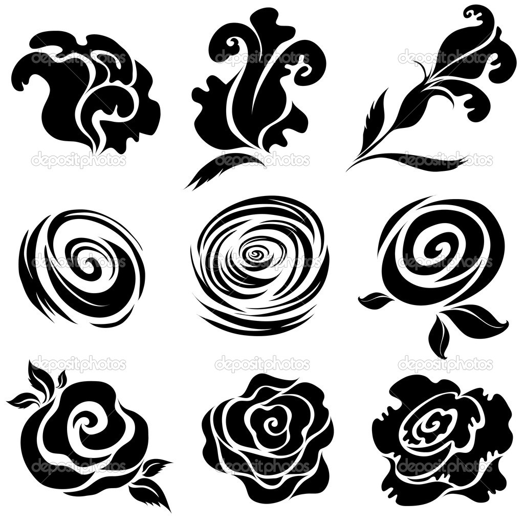 Set of black rose flower design elements