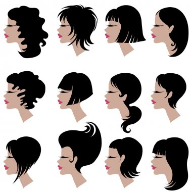 Vector set of hair styling for woman