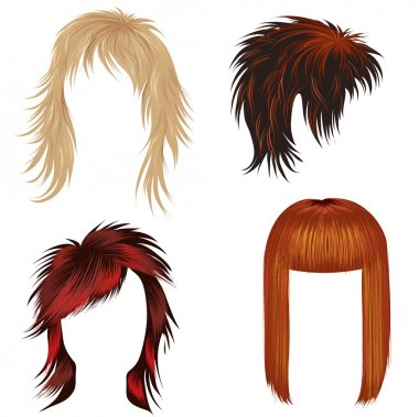 Vector set of hair styling for woman (