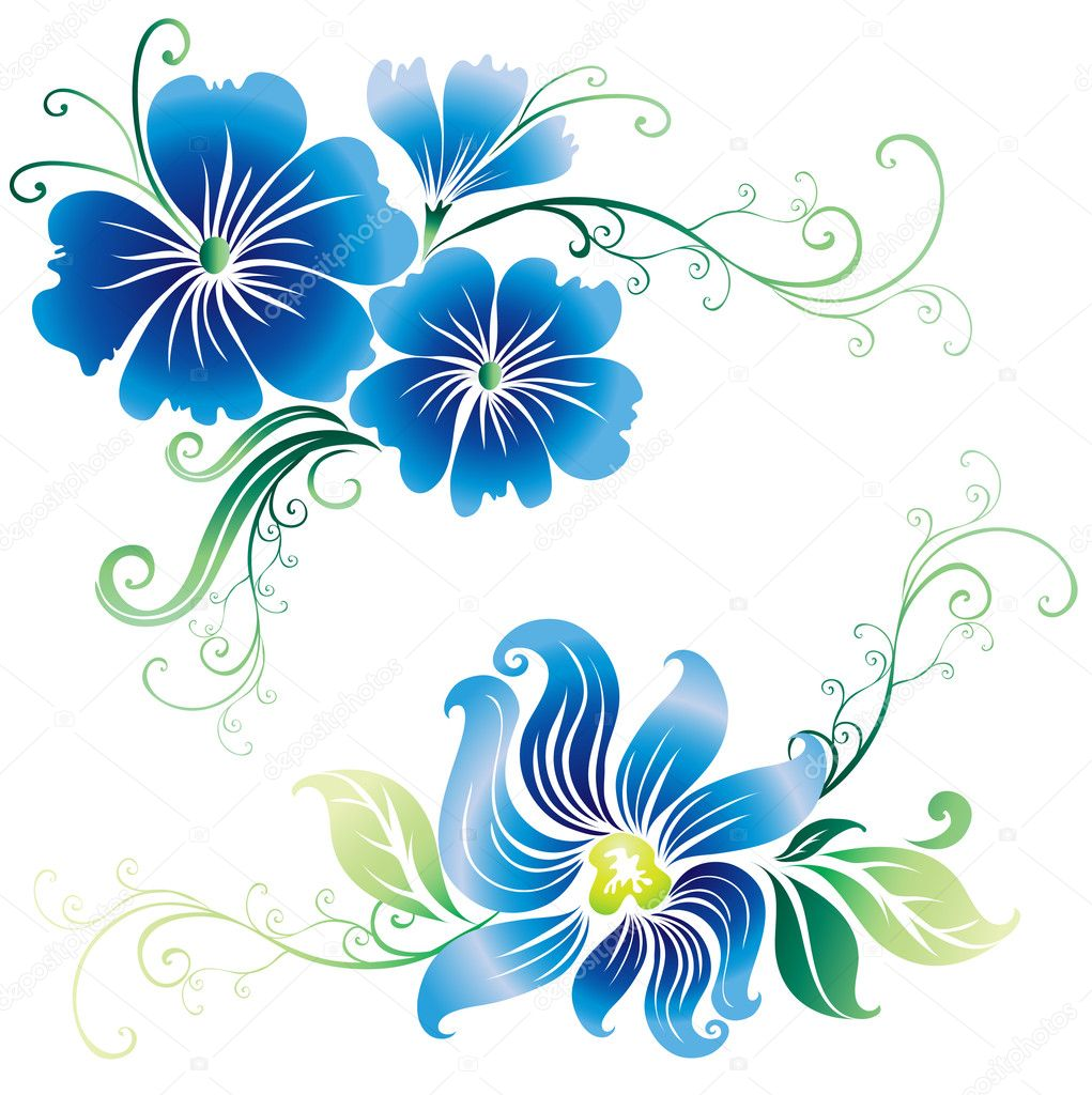 Beautiful vintage vector ornate flowers
