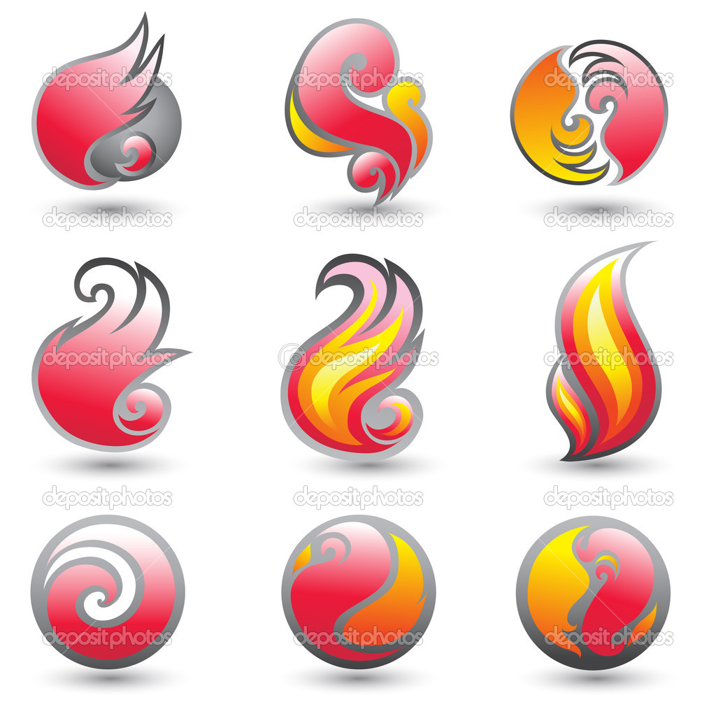 Set of fire symbols