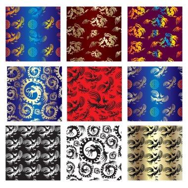 Set of seamless chinese pattern