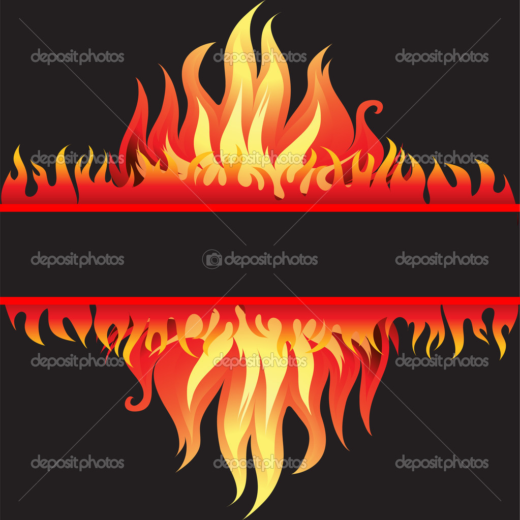 Vector frame background with fire