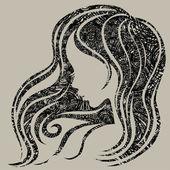 vektorové grunge vinobraní žena