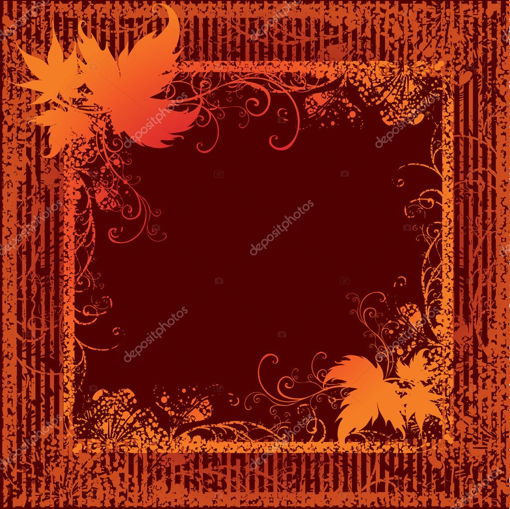 Grunge frame background with leafs