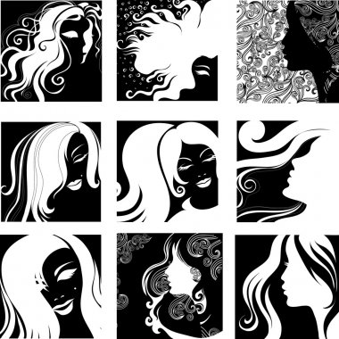 Vector set of closeup portraits