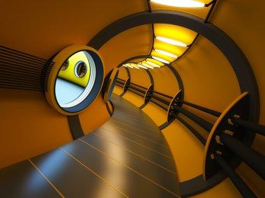 Futuristic modern interior 3d rendering