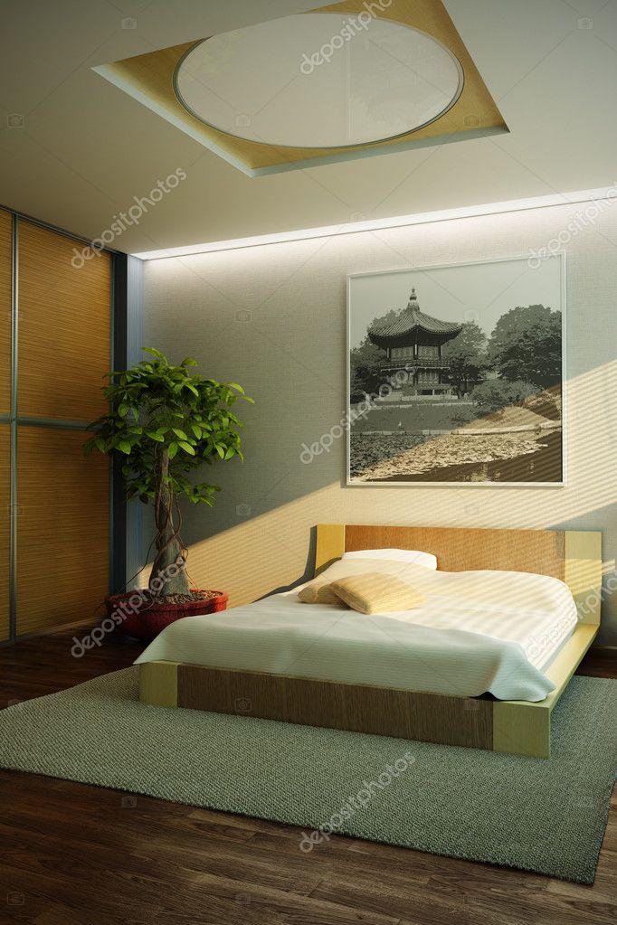 intérieur de chambre à coucher de style Japon — Photographie auriso ...