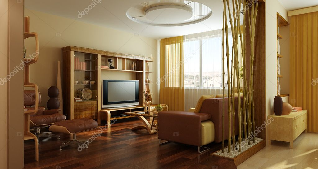 Modern lounge room interior 3d rendering — Stock Photo © auriso ...