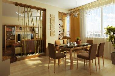 Modern dinner room interior 3d rendering