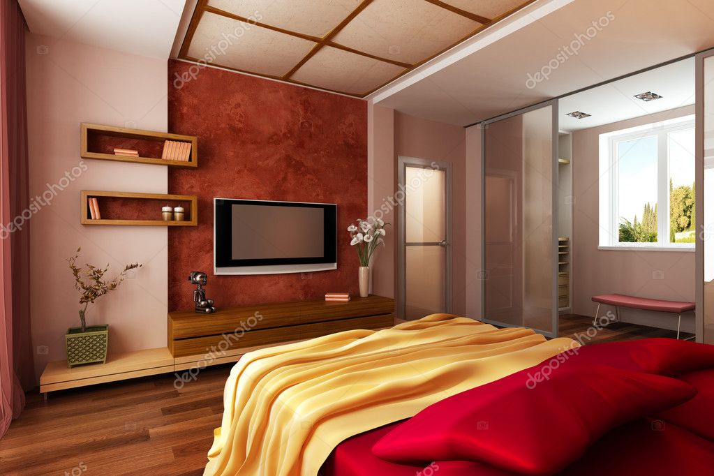 Modern style bedroom interior Stock Photo auriso 1834805