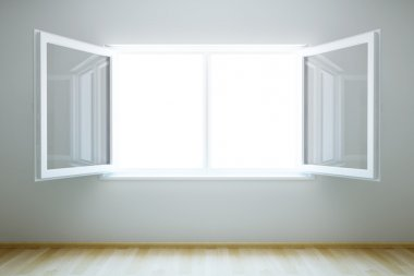 Empty new room with open window