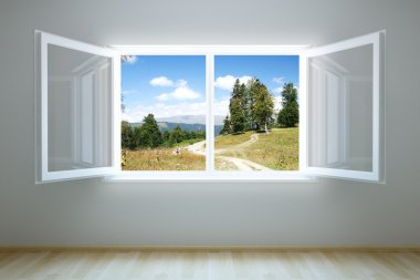 Empty new room with open window