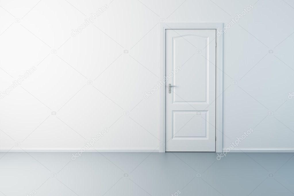 Empty new room with door