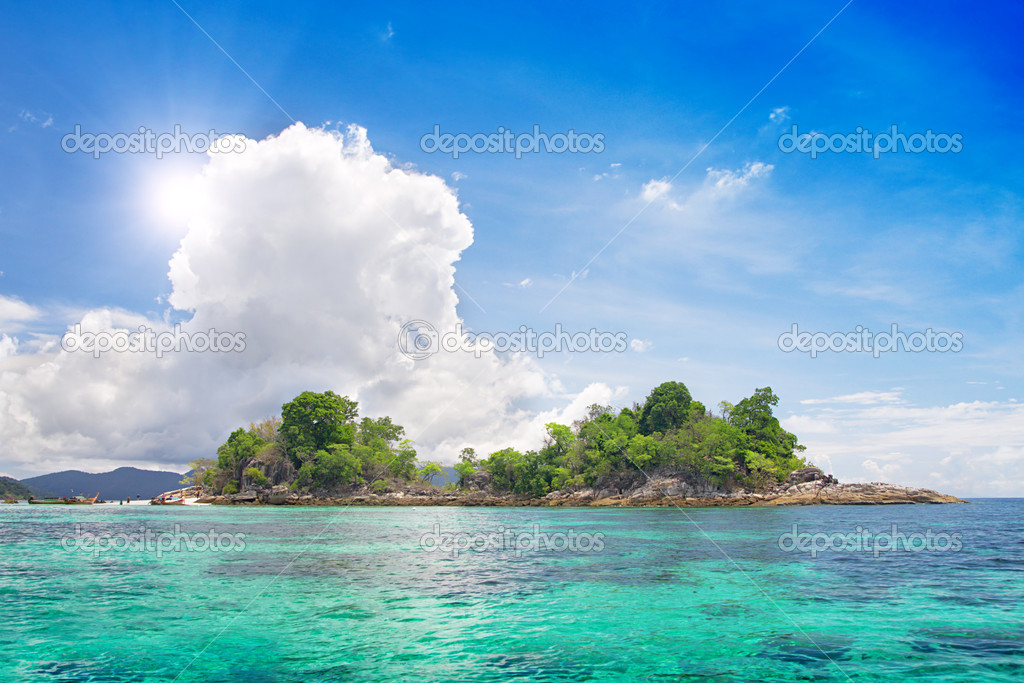 Island in beautiful tropical sea