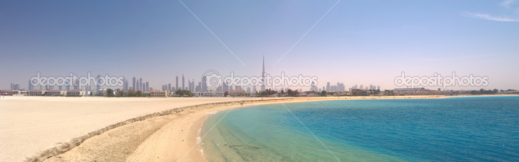 Dubai. Panorama of beautiful beach and s
