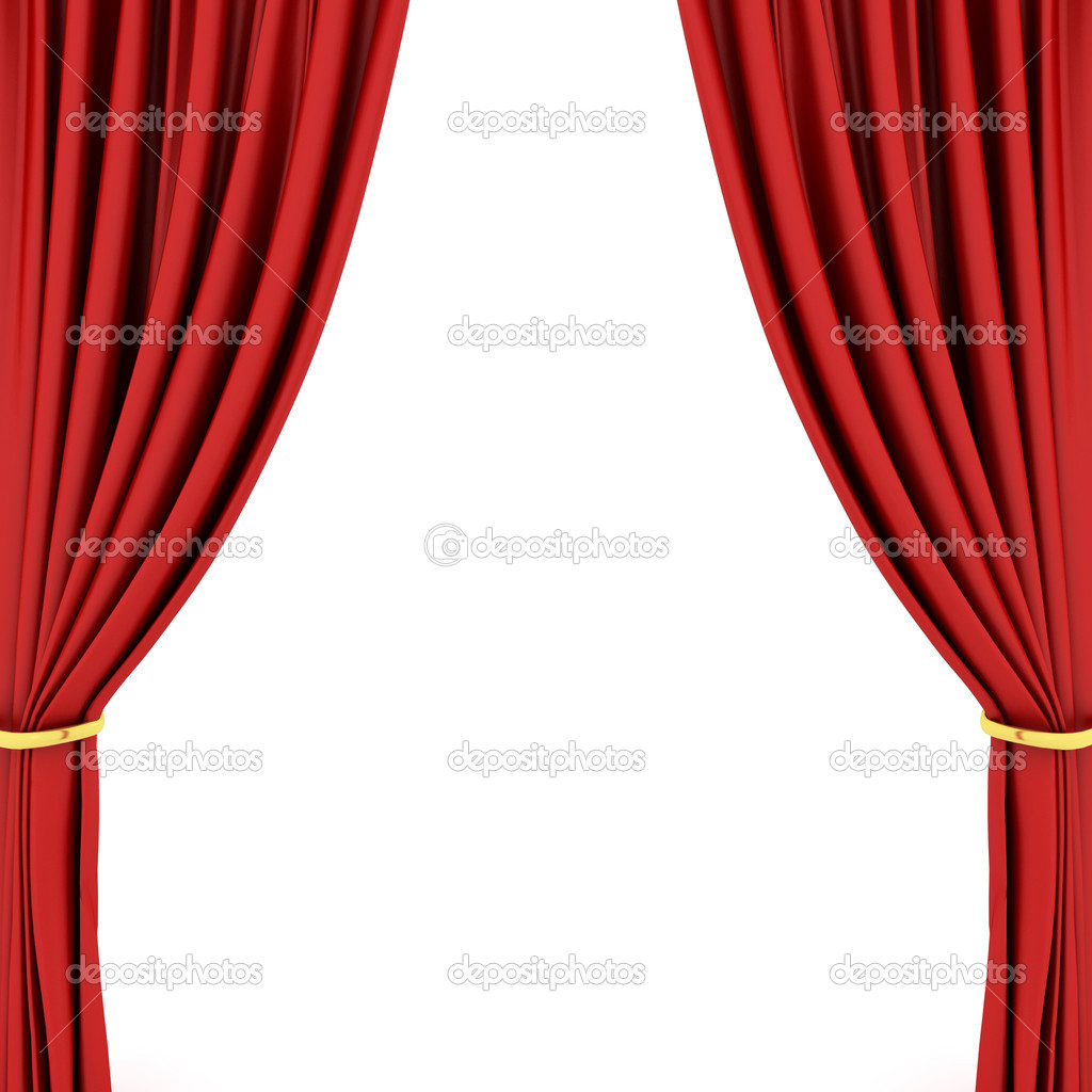 Red stage curtain with lights - Red Theater Curtain Stock Photo 1995917