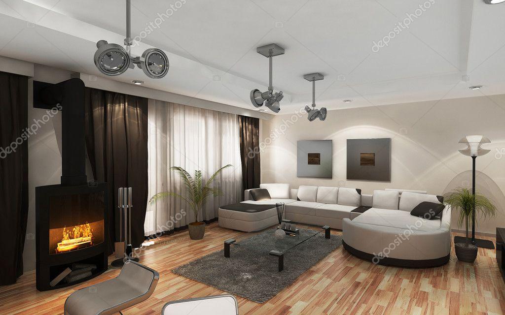 Soggiorno moderno con i mobili moderni e camino — Foto Stock ...