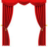 červená divadelní opona a izolované na bílém