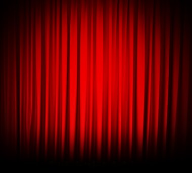 Red theater curtain isolated on white