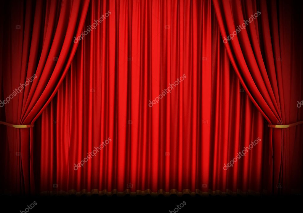 Awesome Red Theater Curtain Isolated On White U2014 Stock Photo #2129306
