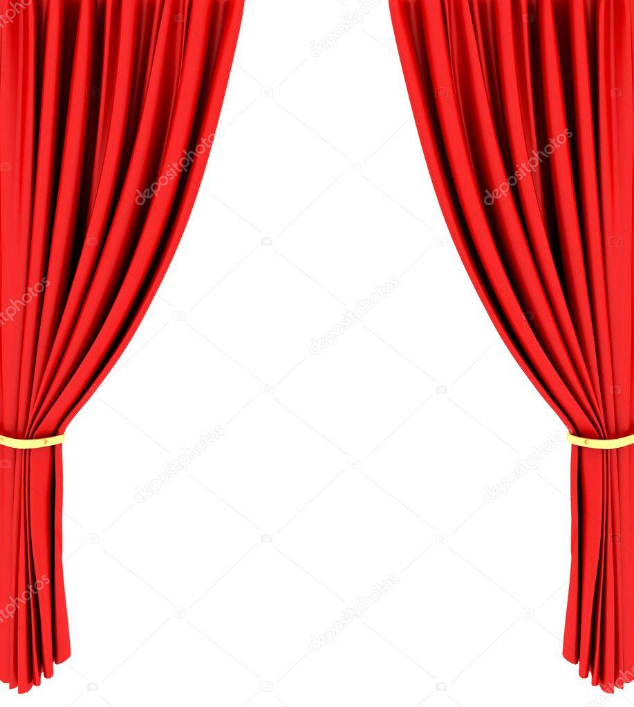 rode theater Gordijn geïsoleerd op wit — Stockfoto © ericmilos #2129478