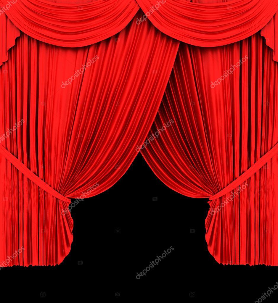 e31bb415fa2d elszigetelt fekete piros színházi függöny — Stock Fotó © ericmilos ...
