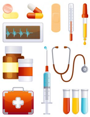 Vector illustration - medical equipment icon set clip art vector