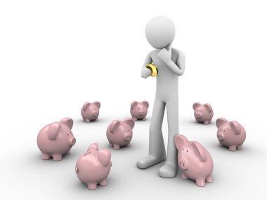Man making choice where to put savings