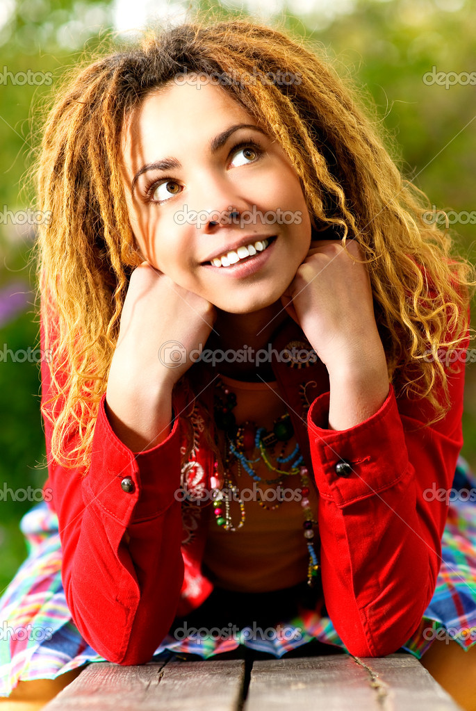 Portrait of girl with dreadlocks