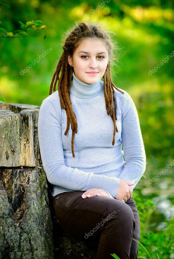 Beautiful girl with dreadlocks
