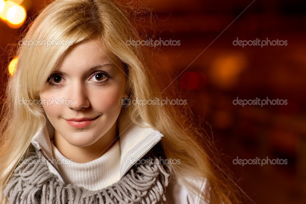 Portrait of charming blonde