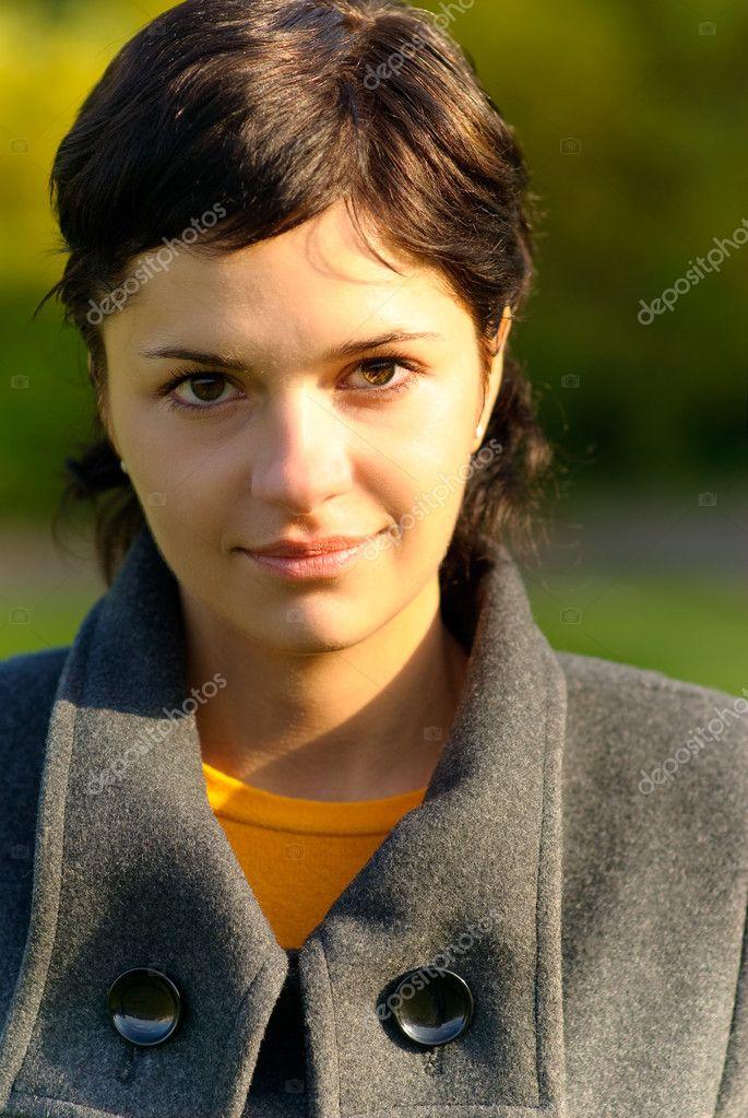 Portrait of girl in coat