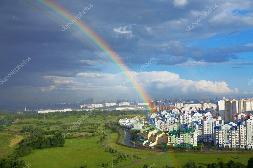 Rainbow of city