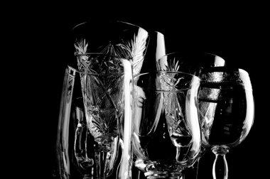 Crystal glass on black closeup