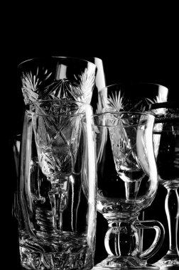Glass on black closeup