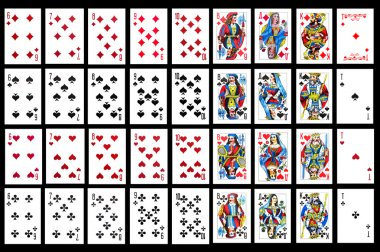 Set of playing card close up