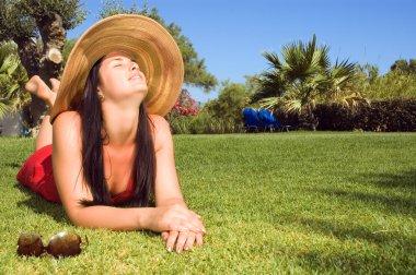 Beautiful woman enjoying the sun