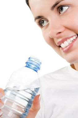 Young girl with mineral water
