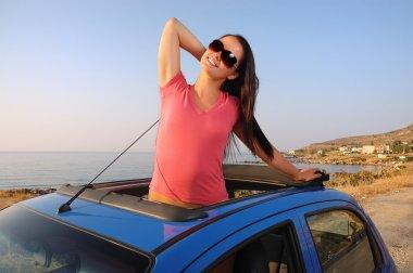 Beautiful young woman enjoying