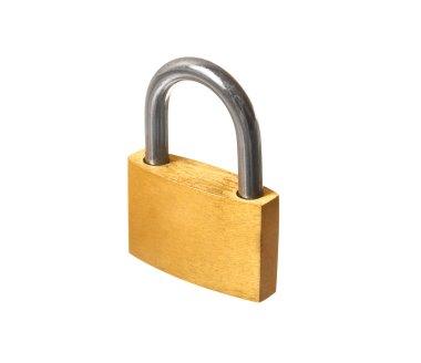 Yellow closed padlock isolated